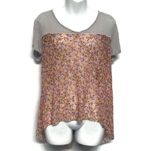 Free People Sheer Floral Backwards Button